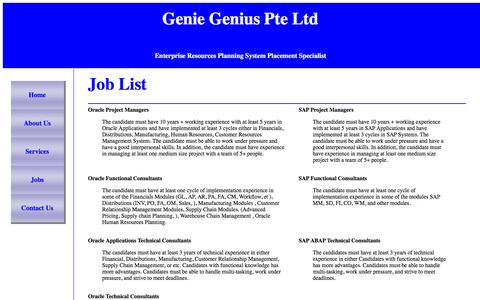 Screenshot of Jobs Page geniegenius.com - Genie Genius Pte Ltd., - captured Jan. 27, 2016