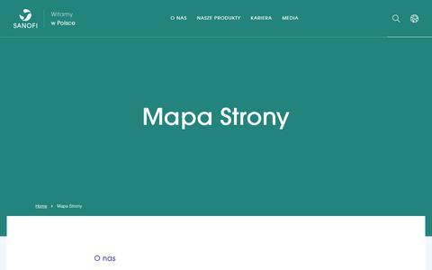 Screenshot of Site Map Page sanofi.pl - Mapa Strony - Sanofi w Polsce - captured Nov. 23, 2018