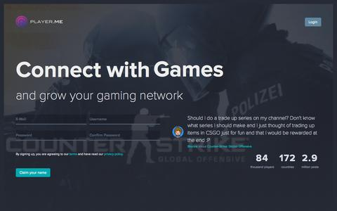 Screenshot of Home Page player.me - Player.me - Social Network for the Gaming Community - captured Oct. 1, 2015