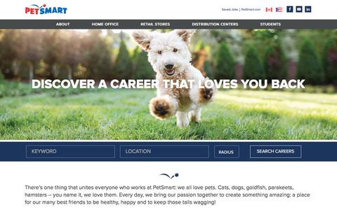 Screenshot of Jobs Page petsmart.com - Working at PETSMART - captured Dec. 21, 2017