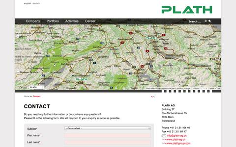 Screenshot of Contact Page plath-ag.ch - Contact - PLATH AG - Solutions for COMINT, EW and ICM - captured Sept. 26, 2014