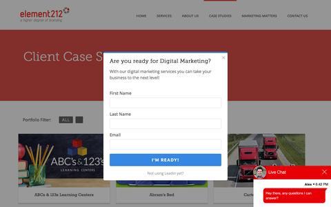 Screenshot of Case Studies Page element212.com - Marketing PortfolioElement212 - captured Oct. 7, 2016
