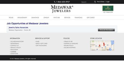 Screenshot of Jobs Page medawars.com - Medawar Jewelers: Career Opportunities & Job Vacancies - captured Oct. 23, 2017