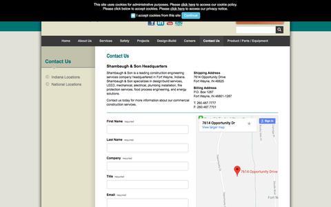 Screenshot of Contact Page shambaugh.com - Design Build Construction   Shambaugh & Son - captured Sept. 25, 2018