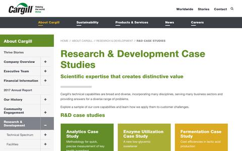 Screenshot of Case Studies Page cargill.com - Research & Development Case Studies | Cargill - captured July 14, 2018