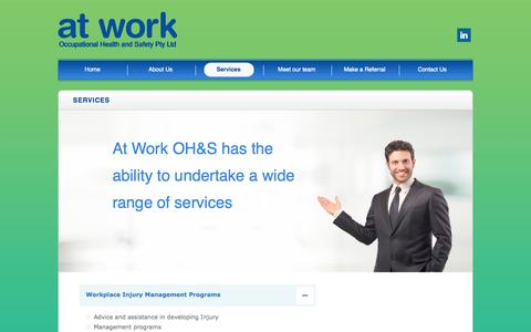Screenshot of Services Page atworkohs.com.au - Services | At Work OH&S - captured Sept. 30, 2014