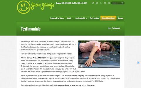 Screenshot of Testimonials Page greengarage.com - Green Garage – Auto Repair Service     Testimonials - captured Sept. 17, 2014