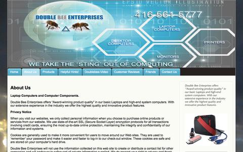 Screenshot of About Page doublebee.ca - About Double Bee Enterprises - captured Oct. 5, 2014