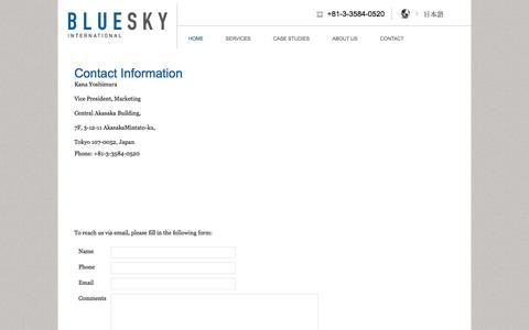 Screenshot of Contact Page blueskyllp.com - Contact Information | Blue Sky LLP - captured Oct. 5, 2014