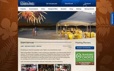 Screenshot of Services Page tradewindsresort.com - Meeting Services - TradeWinds - St Pete Beach/Tampa Meeting Facilities - captured Sept. 19, 2014