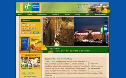 Screenshot of Locations Page hotelcorydon.com - Corydon Indiana Hotel Near New Albany - captured Oct. 8, 2014