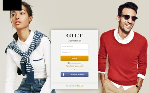 Screenshot of Login Page gilt.com - Gilt Groupe - captured July 20, 2014