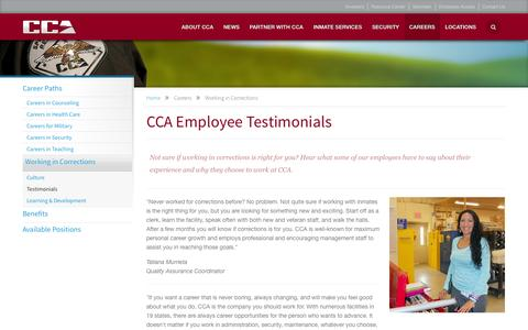 Screenshot of Testimonials Page cca.com - CCA - Careers | Working in Corrections | Testimonials - captured Sept. 22, 2014