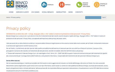 Screenshot of Privacy Page benacoenergia.it - Benaco Energia – dedicata a tePrivacy policy - Benaco Energia - dedicata a te - captured Oct. 10, 2017