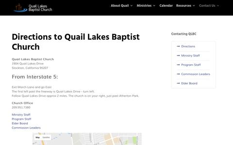 Screenshot of Contact Page Maps & Directions Page qlbc.org - Directions to Quail Lakes Baptist Church | Stockton Baptist Church - captured Nov. 7, 2016
