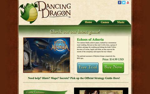 Screenshot of Home Page dancingdragongames.com - Dancing Dragon Games - captured Aug. 5, 2018