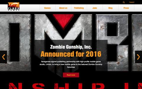 Screenshot of Home Page flaregames.com - flaregames | a mobile games company - captured Oct. 5, 2015