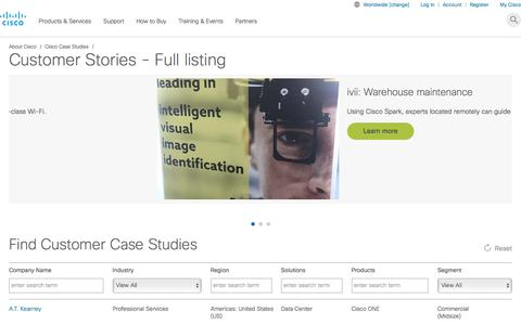 Screenshot of Case Studies Page cisco.com - Case Studies and Customer Success Stories - Full Listing - Cisco - captured Jan. 20, 2018