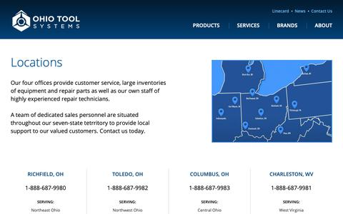 Screenshot of Contact Page Locations Page ohiotool.com - Locations | Ohio Tool Systems - captured Oct. 11, 2018