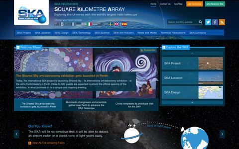 Screenshot of Home Page skatelescope.org - The Square Kilometre Array SKA Home - captured Oct. 3, 2014