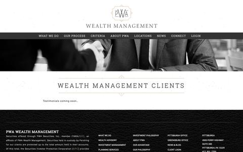 Screenshot of Testimonials Page pwausa.com - Wealth Management Clients - PWA Wealth Management - captured Nov. 11, 2018
