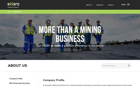 Screenshot of About Page exxaro.com - Find Out More About Us | Exxaro - captured Nov. 11, 2018