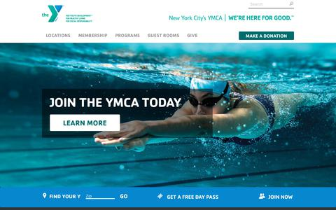 Screenshot of Home Page ymcanyc.org - New York City's YMCA - captured Oct. 15, 2018