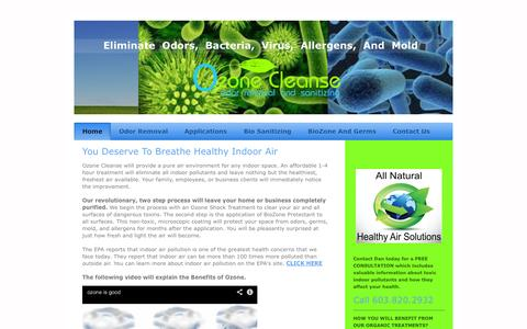Screenshot of Home Page ozonecleanse.com - Ozone Cleanse - Home - captured Sept. 30, 2014