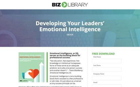 Screenshot of Landing Page bizlibrary.com - Emotional Intelligence: Toolkit for Managers and Leaders - captured Feb. 7, 2017