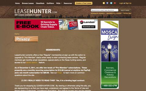 Screenshot of Privacy Page leasehunter.com - Privacy | Hunting leases in Texas, the US and throughout the world. - captured Oct. 2, 2014