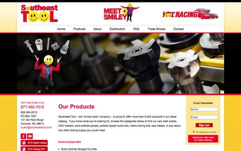Screenshot of Products Page southeasttool.com - Carbide Tipped Router Bits, Cutting Tools, Metric Drill Bits & More   Southeast Tool - captured Feb. 15, 2016