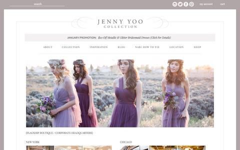 Screenshot of Locations Page jennyyoo.com - Jenny Yoo Collection - captured Jan. 19, 2016
