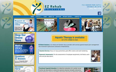 Screenshot of Services Page ezrehabsolutions.com - Services | EZ Rehab Solutions - captured Nov. 4, 2018