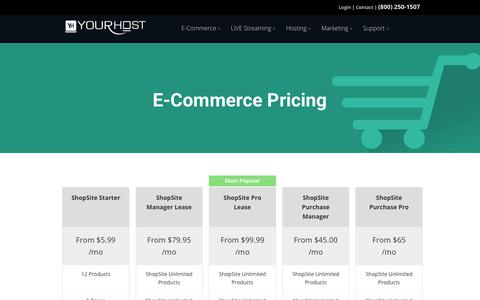 Screenshot of Pricing Page yourhost.com - E-Commerce Pricing - YourHost.com - captured Nov. 6, 2017
