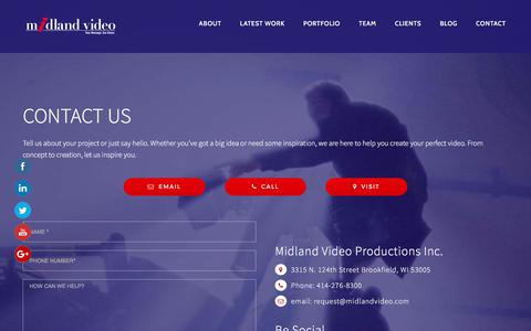 Screenshot of Contact Page midlandvideo.com - Contact Midland Video Productions - captured Oct. 18, 2017