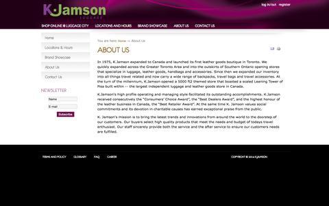 Screenshot of About Page kjamson.com - About Us - K.Jamson - captured Nov. 13, 2015