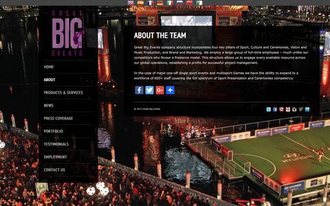 Screenshot of Team Page greatbigevents.com - About the Team   Great Big Events   Sport PresentationGreat Big Events - captured Nov. 14, 2016