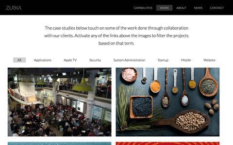 Screenshot of Case Studies Page zurka.com - Work | Zurka Interactive - captured Nov. 12, 2017