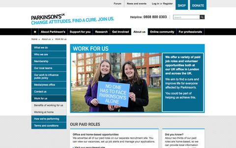Screenshot of Jobs Page parkinsons.org.uk - Parkinson's UK - Work for us - captured Aug. 29, 2016