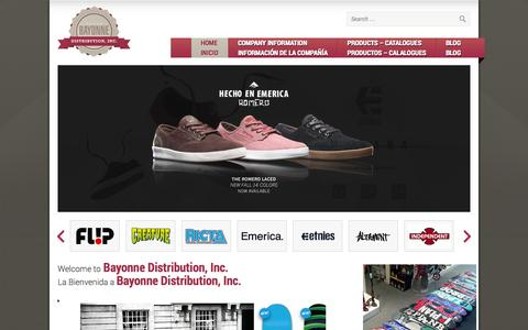 Screenshot of Home Page bayonnedist.com - Bayonne Distribution | Action Sports Equipment | Skateboards | Skateboard Footware | Patinetas | Patineta Calzado | ETNIES | EMERICA | DEKLINE. - captured Oct. 5, 2014