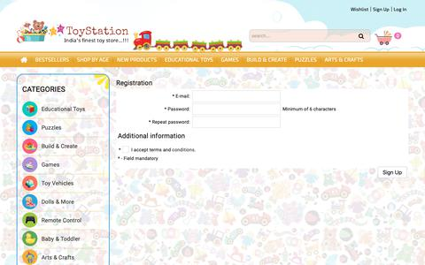 Screenshot of Signup Page toystation.in - Finest and Ultimate destination for Kids Toys - captured Oct. 19, 2018