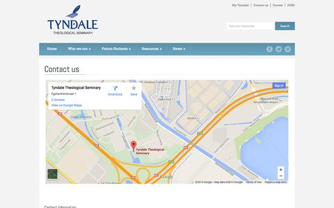 Screenshot of Contact Page tyndale-europe.edu - Tyndale Theological Seminary   » Contact us - captured Oct. 6, 2014