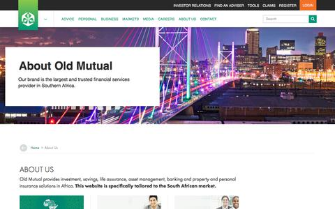 Screenshot of About Page oldmutual.co.za - About Us - captured Aug. 17, 2018