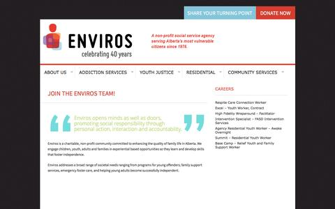 Screenshot of Jobs Page enviros.org - JOIN THE ENVIROS TEAM! | Enviros - captured Nov. 9, 2016
