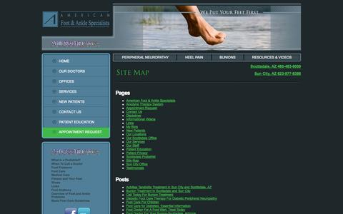 Screenshot of Site Map Page americanfootandanklespecialists.com - Site Map - Make an appointment today!  Call 623-977-8388! - captured Oct. 4, 2014