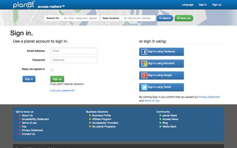 Screenshot of Login Page planat.com - planat Sign in - captured Sept. 19, 2014