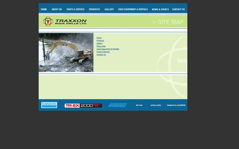 Screenshot of Site Map Page traxxon.com - > Site Map - Specializing in manufacturing and distributing equipment, service, parts and consumables to the rock drilling industry - British Columbia, Canada - captured Oct. 7, 2014