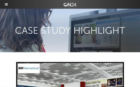 Screenshot of Case Studies Page on24.com - Case Study: SAE International   ON24 - captured Oct. 12, 2017
