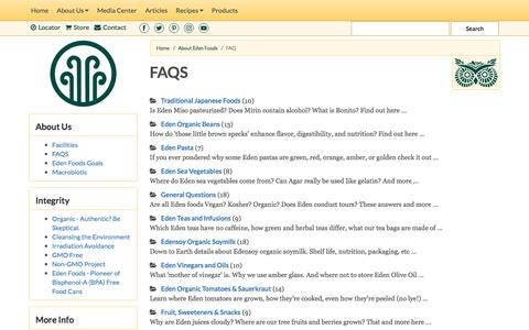 Screenshot of FAQ Page edenfoods.com - Eden Foods - Creation and Maintenance of Purity in Food® - captured July 16, 2017