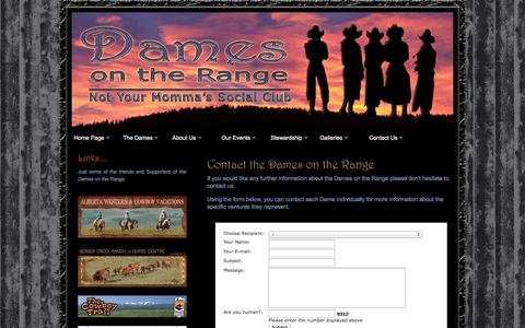 Screenshot of Contact Page damesontherange.ca - Contact details for the Dames on the Range - captured Sept. 30, 2014